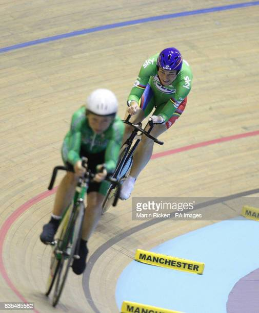 Great Britain's Sarah Storey closes in on Ireland's Ann McFarland on her way to winning the LC1LC2CP4 3KM Cycling Pursuit during the BT Paralympic...