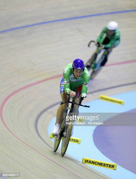 Great Britain's Sarah Storey goes past Ireland's Ann McFarland on her way to winning the LC1LC2CP4 3KM Cycling Pursuit during the BT Paralympic World...