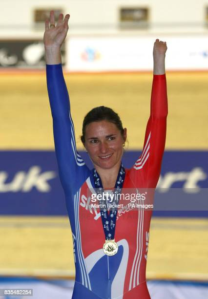 Great Britain's Sarah Storey with her gold medal after winning the LC1LC2CP4 500M Time Trial during the BT Paralympic World Cup Manchester