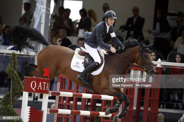 Great Britain's Scott Brash riding Hello Annie competes in the Massimo Dutti Prix during day three of the 2014 Longines Global Champions Tour at...