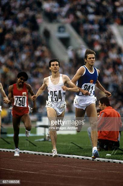Great Britain's Sebastian Coe winning the heat to go through to the final ahead of East Germany's Detlef Wagenknecht