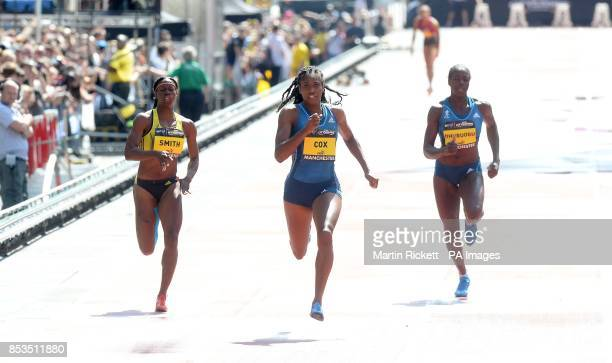 Great Britain's Shana Cox wins the Womens 200m on Deansgate Manchester with StaceyAnn Smith and Christine Ohuruogu during the BT Great CityGames in...