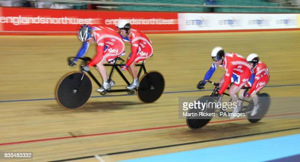 Great Britain's Simon Jackson and Barney Storey beat Neil Frachie and David Readle in the first B/Vi Sprint Final during the BT Paralympic World Cup...