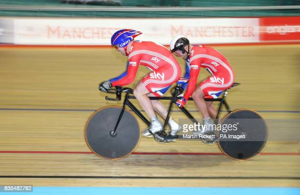 Great Britain's Simon Jackson and Barney Storey on their way to winning the 1000M Time Trial B/Vi during the BT Paralympic World Cup Manchester