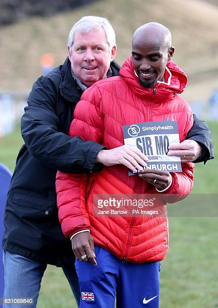 Great Britain's Sir Mo Farah and Brendan Foster during the photocall in Holyrood Park Edinburgh ahead of this weekend's Simplyhealth Great Edinburgh...