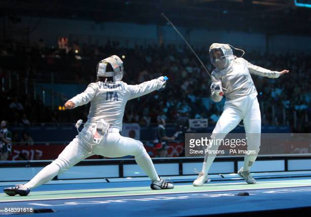 Great Britain's Sophie Williams competes against Italy's Irene Vecchi in the Woman's Sabre Individual at the ExCel on the fifth day of the London...