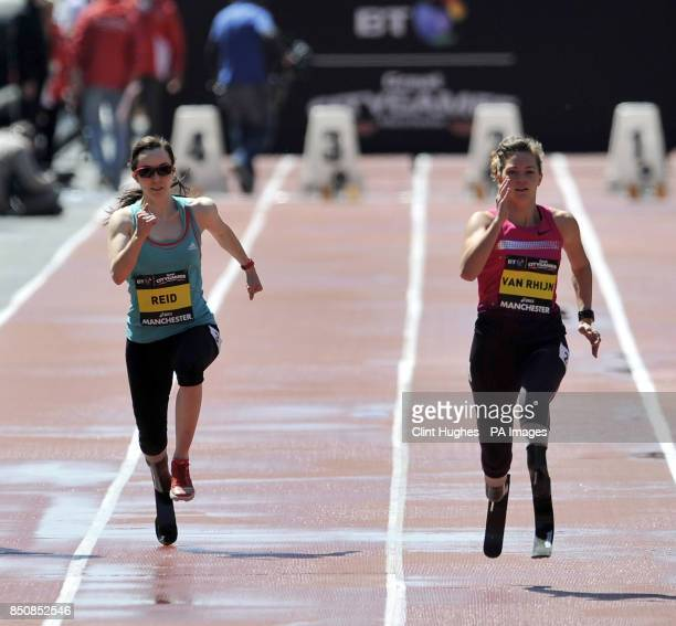 Great Britain's Stefanie Reid finishes second in the women's IPC 100m T43/44 to Netherlands' Marlou Van Rhijn during the BT Great City Games in...
