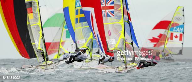 Great Britain's Stevie Morrison and Ben Rhodes racing their 49er skiff at the Olympics on Weymouth Bay today The pair will compete in the Medal Race...