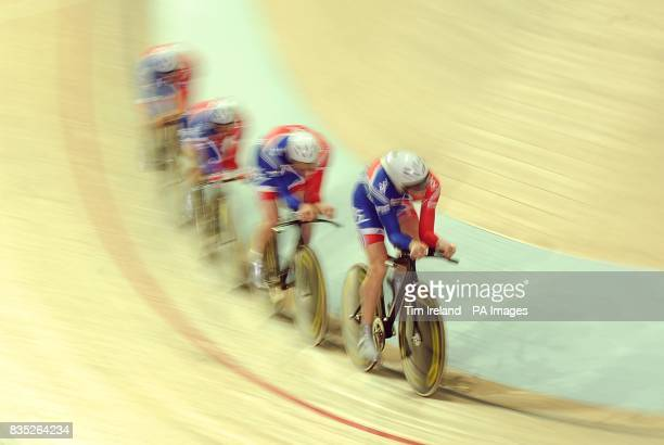 Great Britain's team of Jonathan Bellis Steven Burke Ed Clancy and Peter Kennaugh qualify for the Bronze medal final in the team pursuit during the...