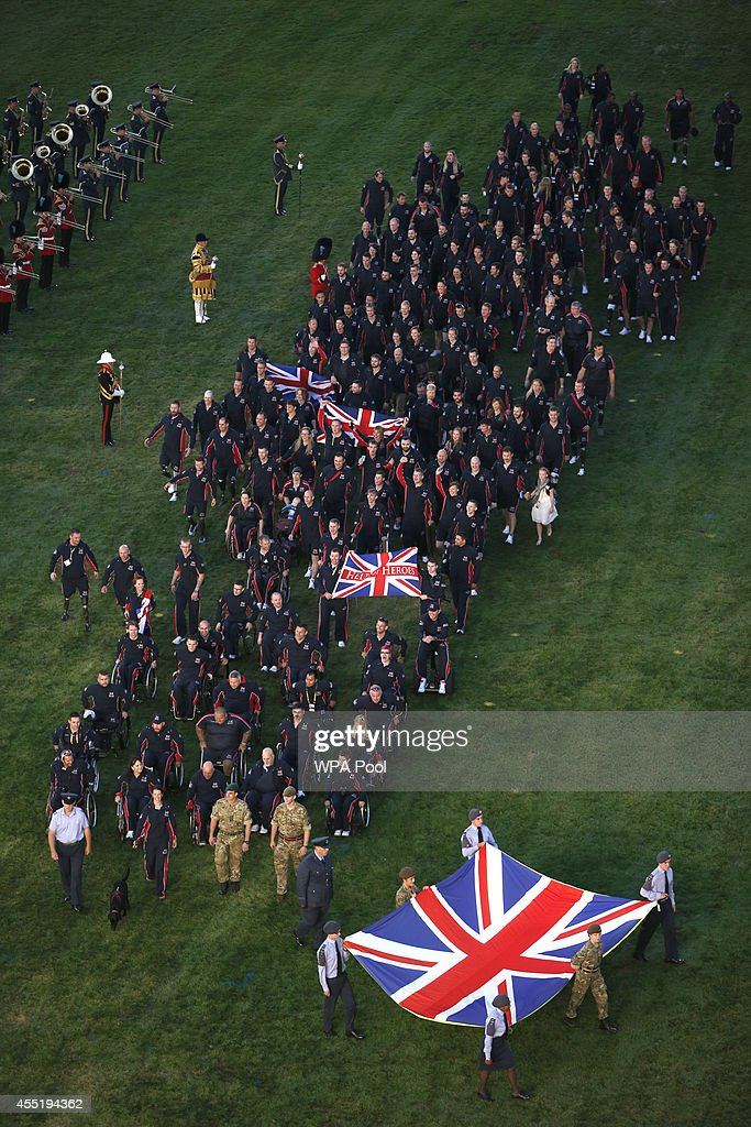 Great Britain's team parades during the opening ceremony of the Invictus Games at Queen Elizabeth II Park on September 10, 2014 in east London, England. The Invictus Games which will run from September 10-14, is an international sporting event for wounded servicemen and women from 13 countries.