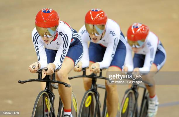Great Britain's Team Pursuit squad of Elinor Barker Dani King and Laura Trott during a training session during the preview day of the UCI Track...
