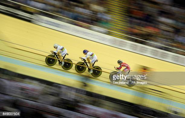Great Britain's team pursuit squad of Laura Trott Dani King and Elinor Barker in qualifying during during day one of the UCI Track Cycling World Cup...