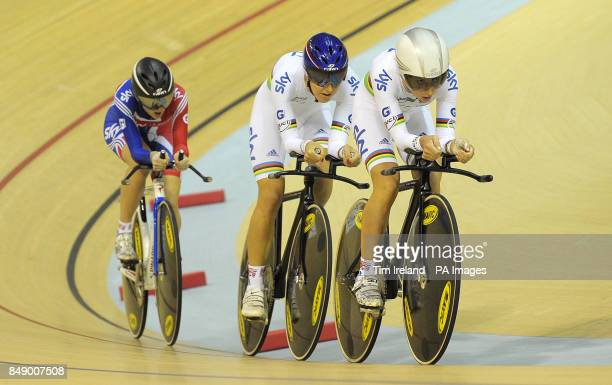 Great Britain's team pursuit squad of Laura Trott Dani King and Elinor Barker in qualifying during day one of the UCI Track Cycling World Cup at the...