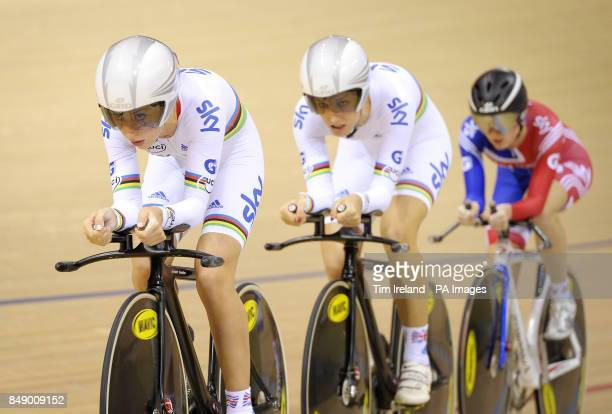 Great Britain's team pursuit squad of Laura Trott Dani King and Elinor Barker ride to gold during day one of the UCI Track Cycling World Cup at the...