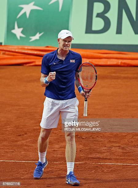 Great Britain's tennis player Kyle Edmund reacts after scoring a point against Serbia's Janko Tipsarevic during the Davis Cup World Group quarter...