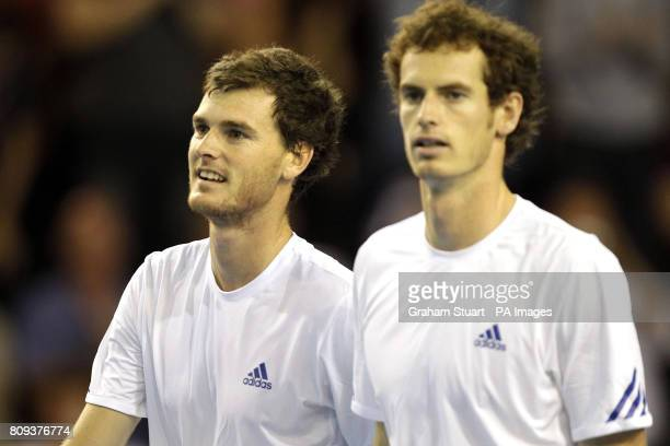 Great Britain's tennis players Andy Murray and Jamie Murray after beating Luxembourg's Laurent Bram and Mike Vermeer during day Two of the Davis Cup...