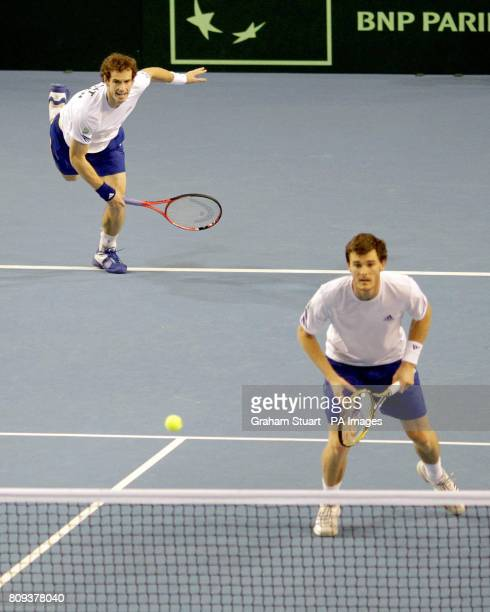 Great Britain's tennis players Andy Murray and Jamie Murray during play against Luxembourg's Laurent Bram and Mike Vermeer during day Two of the...