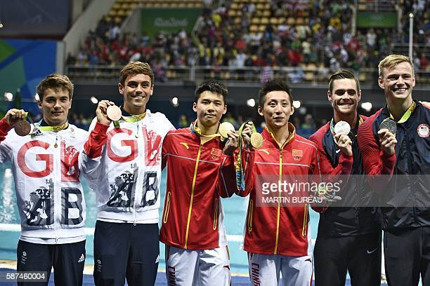 Great Britain's Thomas Daley and Great Britain's Daniel Goodfellow China's Chen Aisen and China's Lin Yue and US David Boudia and US Steele Johnson...