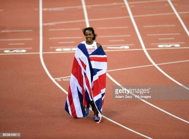 Great Britain's Tiffany Porter walks back after winning the Women's 100m Hurdles Final during day two of the 2014 European Athletics Championships at...