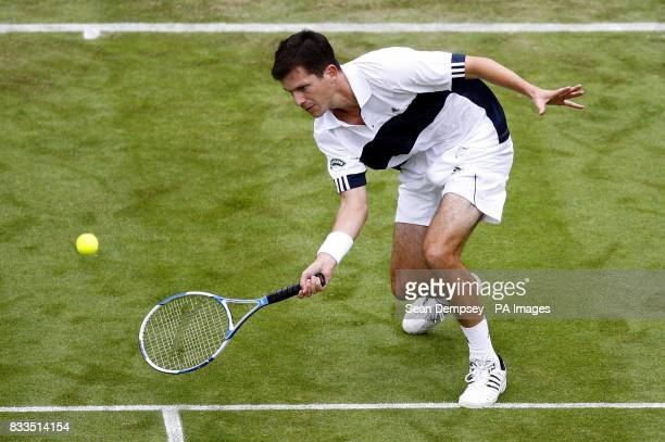 Great Britain's Tim Henman in action against Croatia's Roko Karanusic during the first day of the Davis Cup World Group Playoff at the All England...