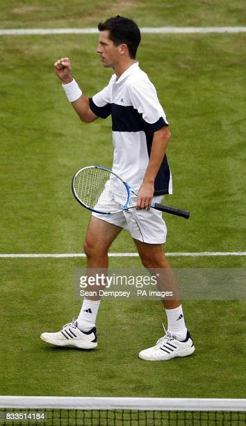 Great Britain's Tim Henman on his way to beating Croatia's Roko Karanusicduring the first day of the Davis Cup World Group Playoff at the All England...