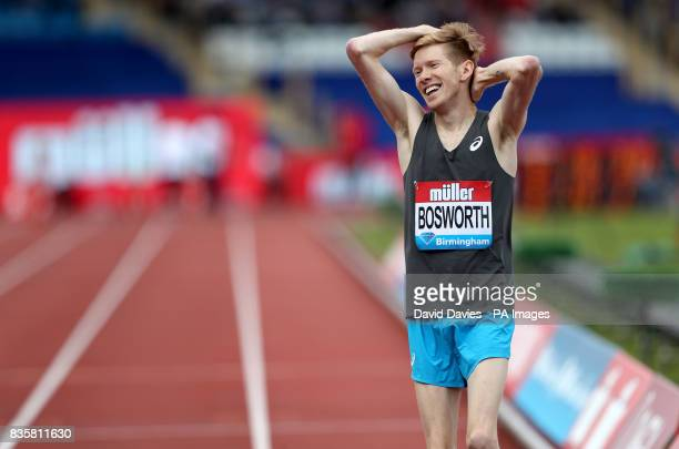 Great Britain's Tom Bosworth celebrates victory over Great Britain's Adam Clarke in the Walk vs Run event during the Muller Grand Prix at the...