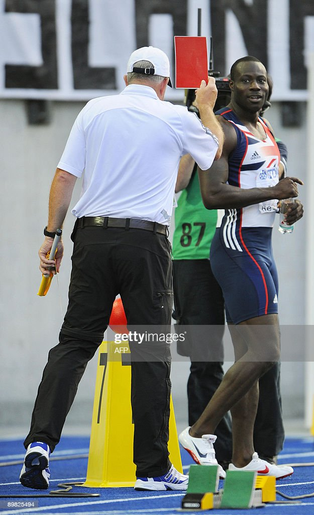Great Britain's Tyrone Edgar gets disqualified after making a false start in the men's 100m semifinal heat 1 race of the 2009 IAAF Athletics World...