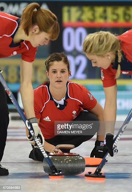 Great Britain's Vicki Adams throws the stone during the Women's Curling Bronze Medal Game between Great Britain and Switzerland at the Ice Cube...