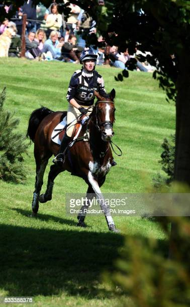 Great Britain's Vicky Laing rides Joli Figaro during the Cross Country Event at the Land Rover Burghley Horse Trial at Burghley House Stamford...