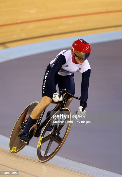 Great Britain's Victoria Pendleton secures victory over Russia's Ekaterina Gnidenko in the women's sprint at the Olympic Velodrome London on the...