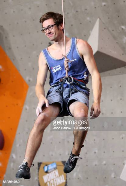 Great Britain's William Bosi after his climb in the lead semifinals during the IFSC Climbing World Cup at the Edinburgh International Climbing Arena