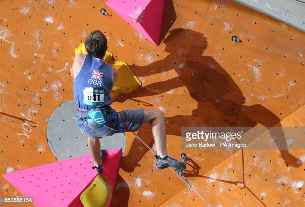 Great Britain's William Bosi during his climb in the lead semifinals during the IFSC Climbing World Cup at the Edinburgh International Climbing Arena