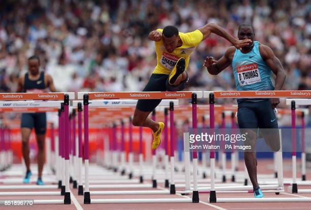 Great Britain's William Sharman in action during the men's 110 metres hurdles final after USA's Aries Merritt fell during day two of the IAAF London...