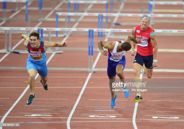 Great Britain's William Sharman is beaten to the Gold by Russia's Sergey Shubenkov on the line in the Men's 110m Hurdles Final during day three of...