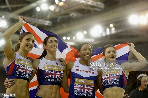 Great Britains women celebrate winning the womnens 4x400m relay during the Sainsbury's Glasgow International Match at Emirates Arena on January 24...