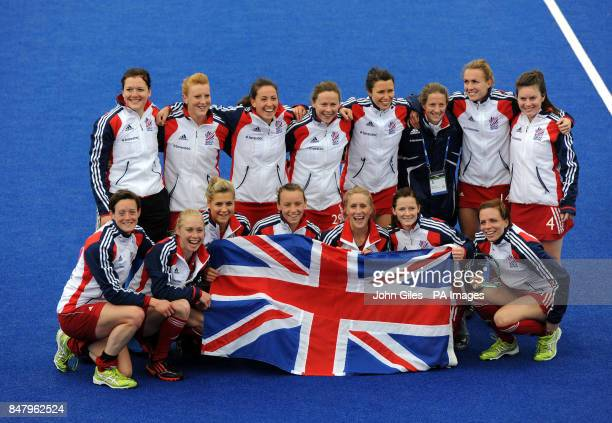 Great Britain's women's celebrate their gold medal win over Argentina during the Visa International Invitational Hockey Tournament at the Riverbank...