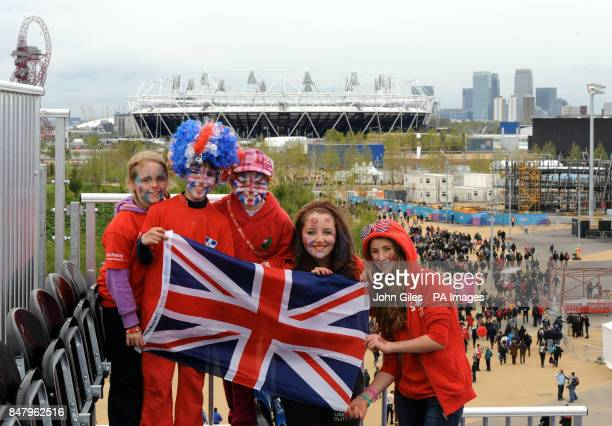 Great Britain's women's hockey supporters watch the Gold Medal Test Event Match final between Great Britain and Argentina during the Visa...