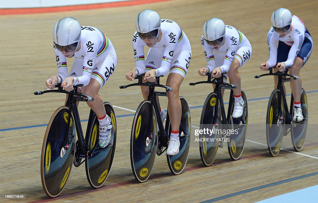 Great Britain's Women's Team Pursuit cyclists Laura Trott, Elinor Barker, Dani King and Joanna Rowsell, are pictured on their way to beating Canada to claim gold in the Women's Team Pursuit during day one of the Track Cycling World Cup at The National Cycling Centre in Manchester, north-west England, on November 1, 2013.
