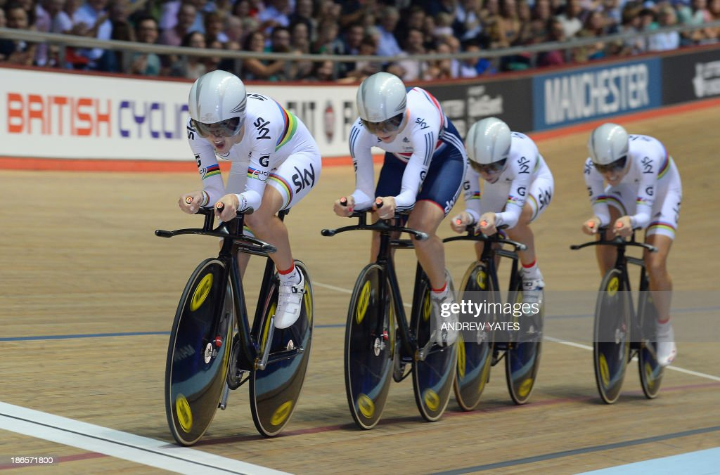 Great Britain's Women's Team Pursuit members Laura Trott, Elinor Barker, Dani King and Joanna Rowsell, are pictured on their way to beating Canada to claim gold in the Womens Team Pursuit during day one of the Track Cycling World Cup at The National Cycling Centre in Manchester, north-west England, on November 1, 2013.