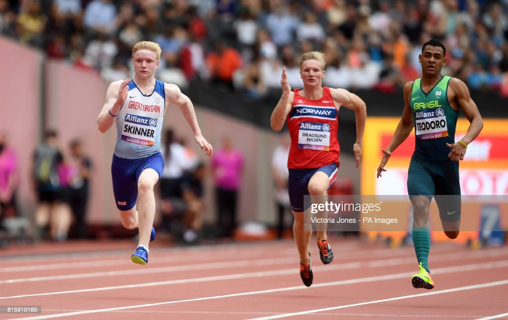 Great Britain's Zak Skinner (left) in action during The Men's 100m T13 first heat during day three of the 2017 World Para Athletics Championships at London Stadium.
