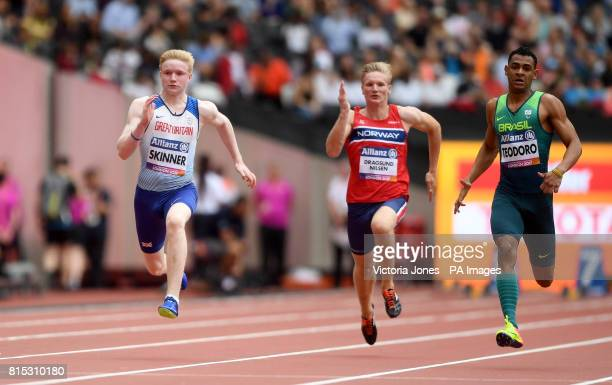 Great Britain's Zak Skinner in action during The Men's 100m T13 first heat during day three of the 2017 World Para Athletics Championships at London...