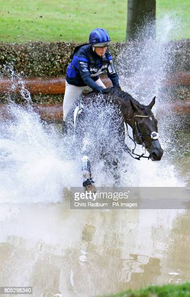 Great Britain's Zara Phillips and Glenbuck struggle through the Trout Hatchery as they compete in the Cross Country during day three of the Burghley...