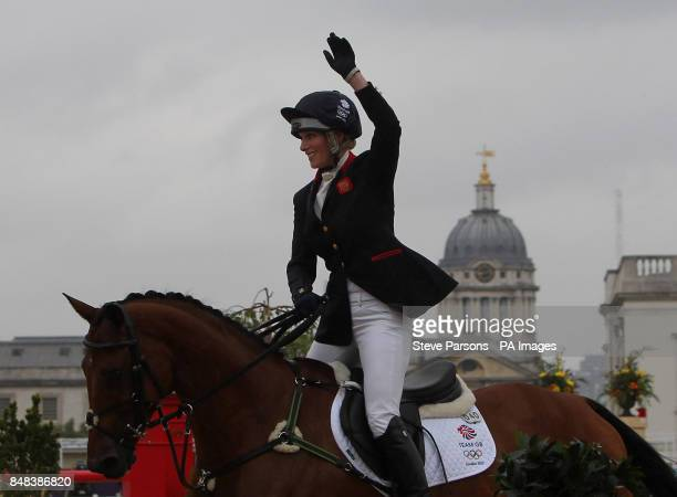 Great Britain's Zara Phillips celebrates on High Kingdom after competing in the Individual Eventing Jumping Final on day four of the London Olympic...