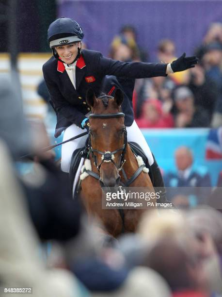 Great Britain's Zara Phillips on High Kingdom celebrates during the Individual Eventing Jumping Final on day four of the London Olympic Games at...