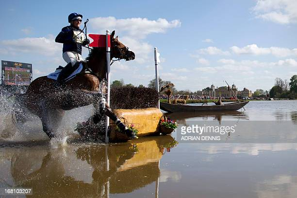 Great Britain's Zara Phillips riding High Kingdom runs out of a fence at the water jump during the cross country test during day three of the...