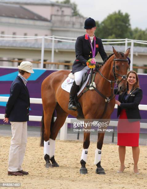 Great Britain's Zara Phillips with her mother Princess Anne after she won Silver in the Team Eventing on day four of the London Olympic Games at...