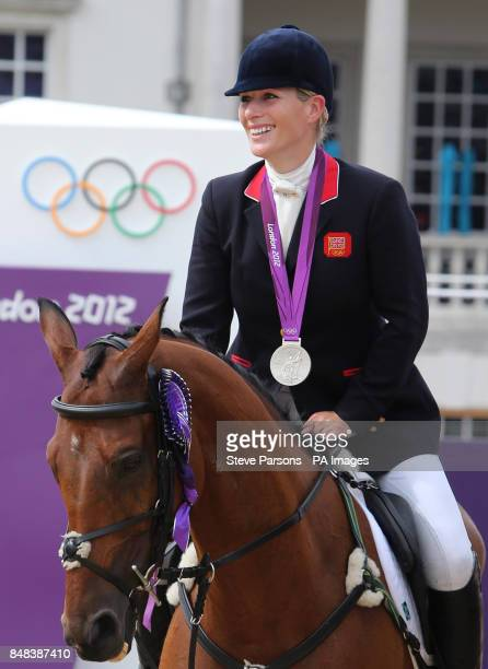 Great Britain's Zara Phillips with her Silver medal during the Team Eventing Medal ceremony on day four of the London Olympic Games at Greenwich Park...