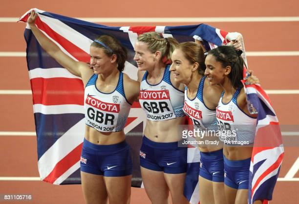 Great Britain's Zoey Clark Eilidh Doyle Emily Diamond and Laviai Nielsen celebrate taking silver in the Women's 4x400m Final during day ten of the...