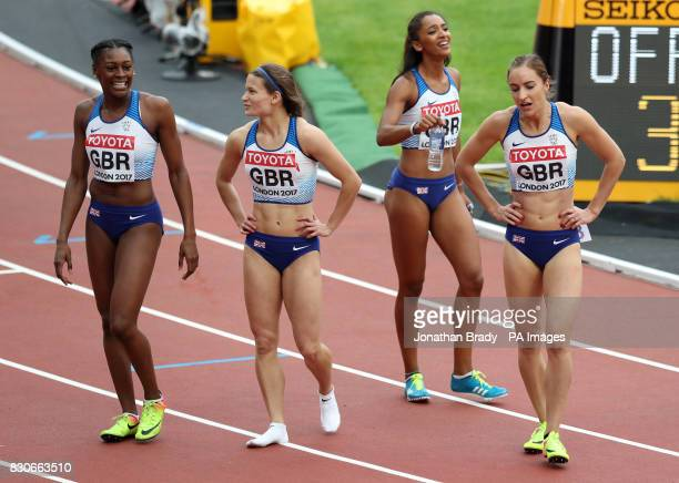 Great Britain's Zoey Clark Laviai Nielsen Perri ShakesDrayton and Emily Diamond after competing in the The Great Britain 4x400m Women's Relay during...