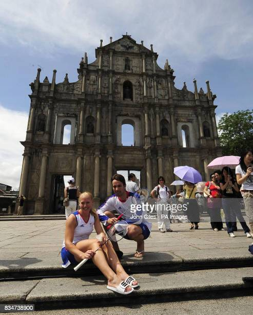 Great Britian's Badminton players Gail Emms and Nathan Robertson who took the Silver Medal in the mixed doubles at the Athens Olympics in front of St...